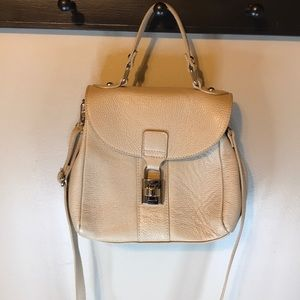 Textured Borse In Pelle beige leather satchel